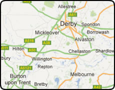 map of Derby showing Chellaston Burton upon Trent Alvaston Mickleover